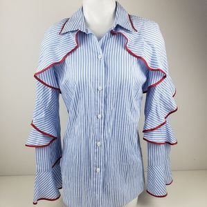 Hot and Delicious blue red ruffles top blouse S